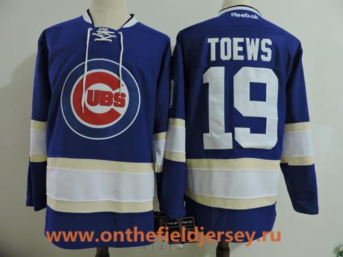 Men's Chicago Blackhawks #19 Jonathan Toews Royal Blue with Cubs Logo Stitched Hockey Mixed Baseball Jersey