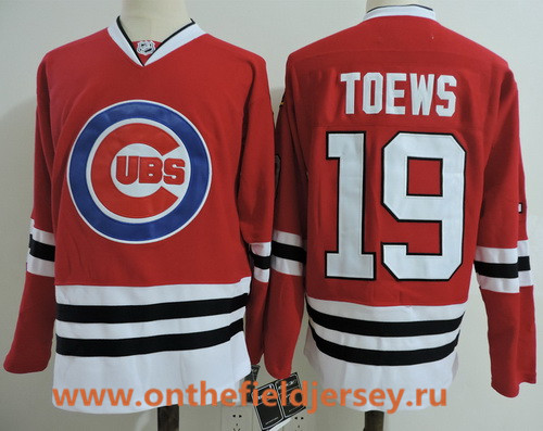 Men's Chicago Blackhawks #19 Jonathan Toews Red with Cubs Logo Stitched Hockey Mixed Baseball Jersey