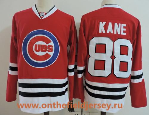 Men's Chicago Blackhawks #88 Patrick Kane Red with Cubs Logo Stitched Hockey Mixed Baseball Jersey