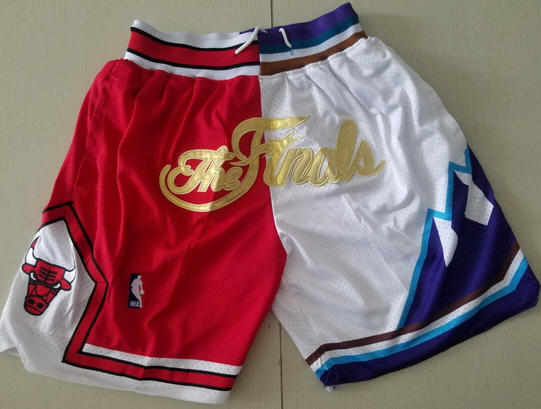 Men's Chicago Bulls and Utah Jazz Red with White 1997 The Finals Patch Split Just Don Shorts