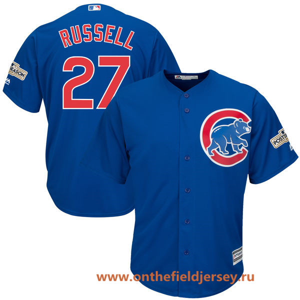 Men's Chicago Cubs Addison Russell Majestic Royal Blue 2017 Postseason Patch Cool Base Player Jersey