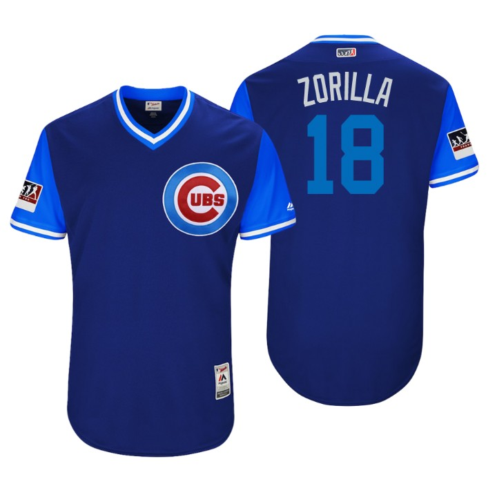 Men's Chicago Cubs Authentic Ben Zobrist #18 Royal 2018 LLWS Players Weekend Zorilla Jersey