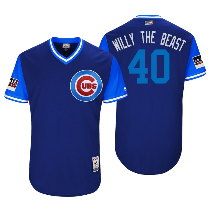 Men's Chicago Cubs Authentic Willson Contreras #40 Royal 2018 LLWS Players Weekend Willy The Beast Jersey
