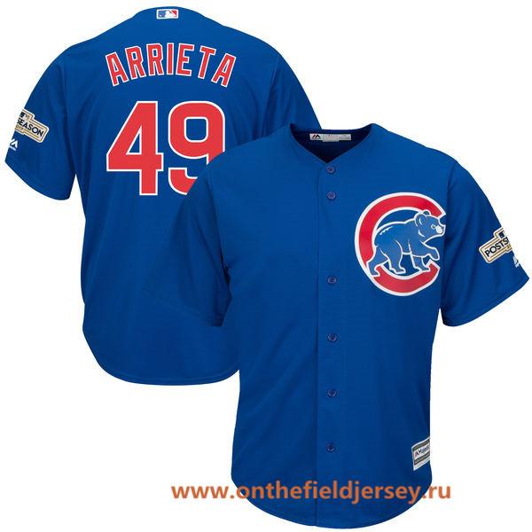 Men's Chicago Cubs Jake Arrieta Majestic Royal Blue 2017 Postseason Patch Cool Base Player Jersey