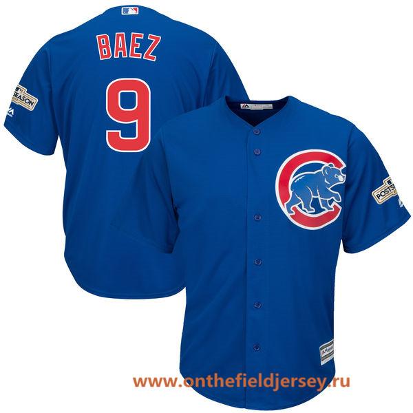 Men's Chicago Cubs Javier Baez Majestic Royal Blue 2017 Postseason Patch Cool Base Player Jersey