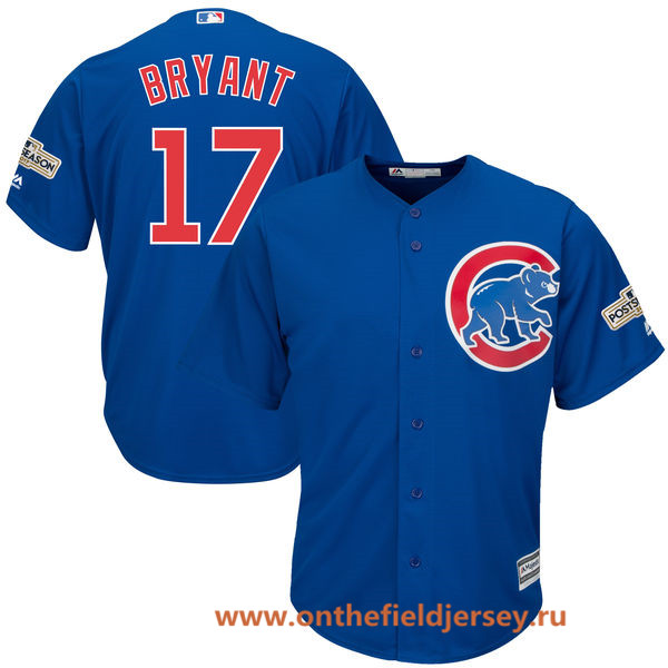 Men's Chicago Cubs Kris Bryant Majestic Royal Blue 2017 Postseason Patch Cool Base Player Jersey