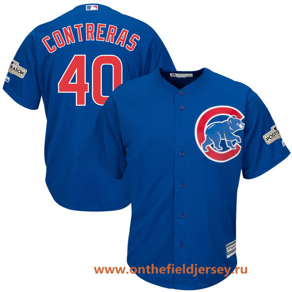 Men's Chicago Cubs Wilson Contreras Majestic Royal Blue 2017 Postseason Patch Cool Base Player Jersey