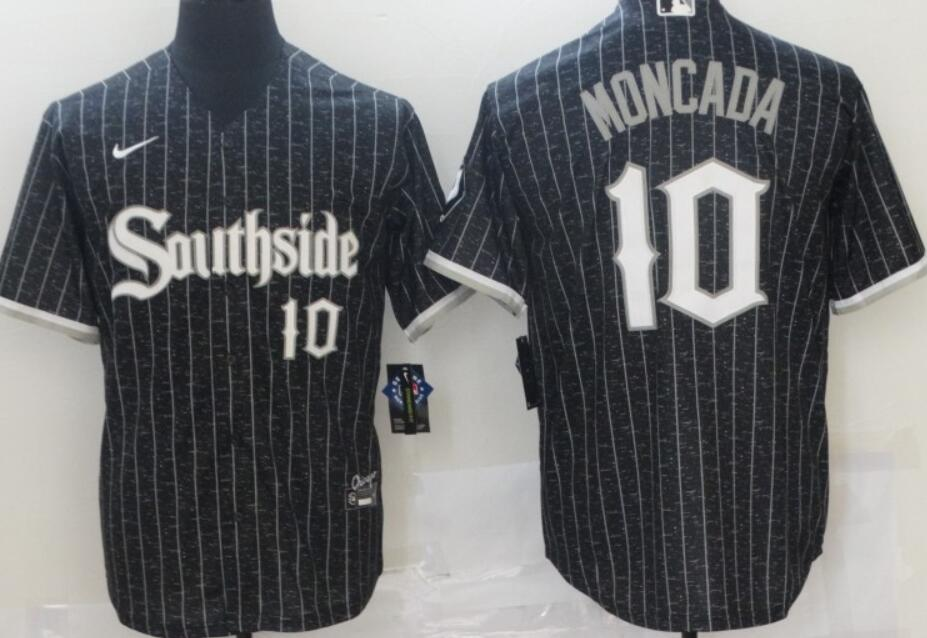 Men's Chicago White Sox #10 Yoan Moncada Black with Small Number 2021 City Connect Stitched MLB Cool Base Nike Jersey