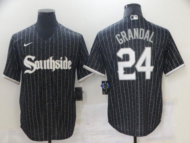 Men's Chicago White Sox #24 Yasmani Grandal Black 2021 City Connect Stitched MLB Cool Base Nike Jersey