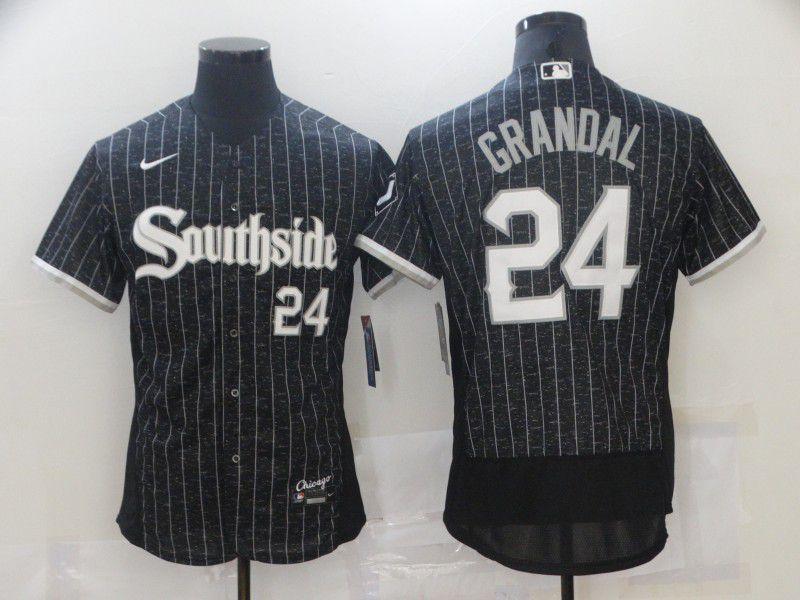 Men's Chicago White Sox #24 Yasmani Grandal Black 2021 City Connect Stitched MLB Flex Base Nike Jersey