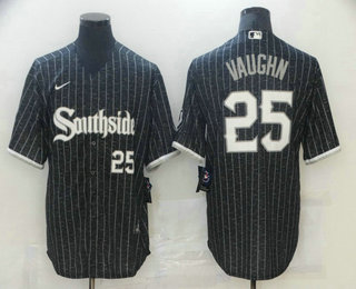 Men's Chicago White Sox #25 Andrew Vaughn Black With Small Number 2021 City Connect Stitched MLB Cool Base Nike Jersey