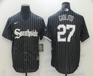 Men's Chicago White Sox #27 Lucas Giolito Black 2021 City Connect Stitched MLB Cool Base Nike Jersey