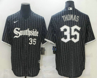 Men's Chicago White Sox #35 Frank Thomas Black With Small Number 2021 City Connect Stitched MLB Cool Base Nike Jersey