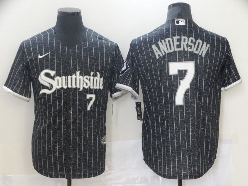 Men's Chicago White Sox #7 Tim Anderson Black with Small Number 2021 City Connect Stitched MLB Cool Base Nike Jersey