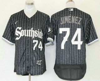 Men's Chicago White Sox #74 Eloy Jimenez Black 2021 City Connect Stitched MLB Flex Base Nike Jersey
