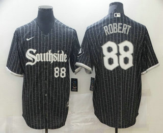 Men's Chicago White Sox #88 Luis Robert Black with Small Number 2021 City Connect Stitched MLB Cool Base Nike Jersey