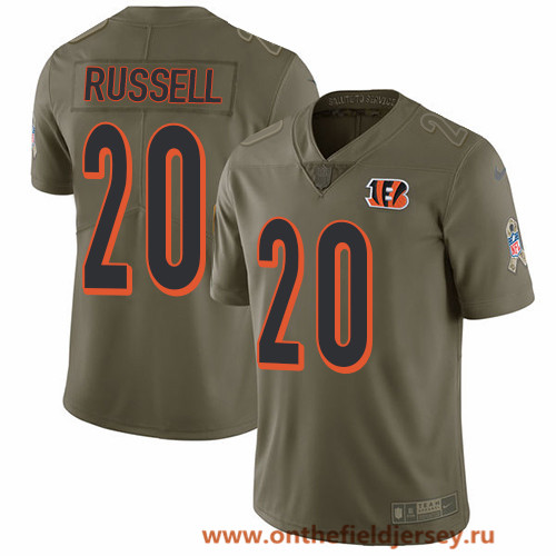 Men's Cincinnati Bengals #20 KeiVarae Russell Olive 2017 Salute To Service Stitched NFL Nike Limited Jersey