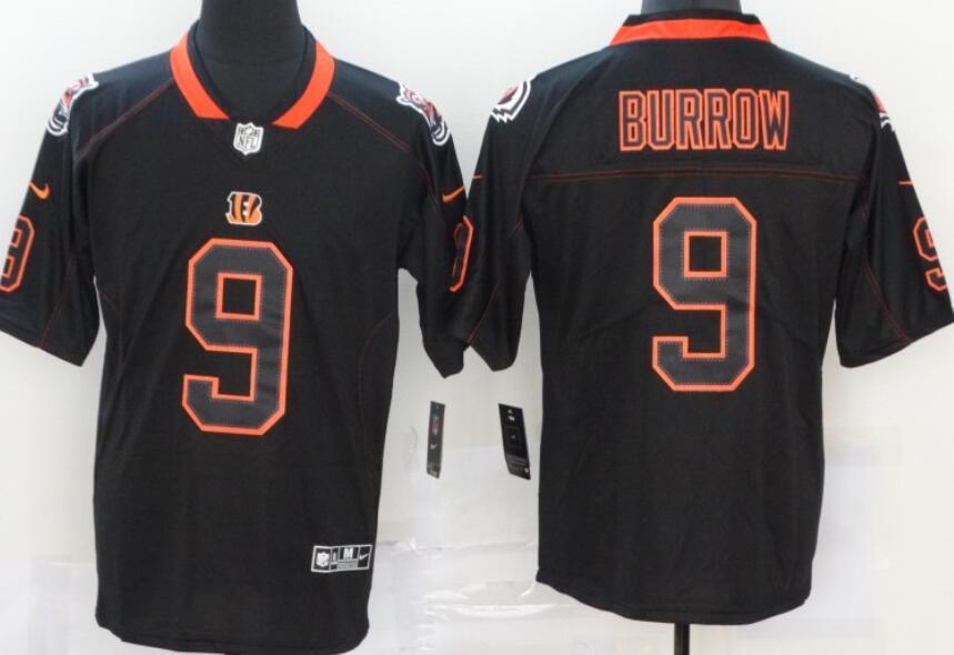 Men's Cincinnati Bengals #9 Joe Burrow 2020 Black Lights Out Color Rush Stitched NFL Nike Limited Jersey