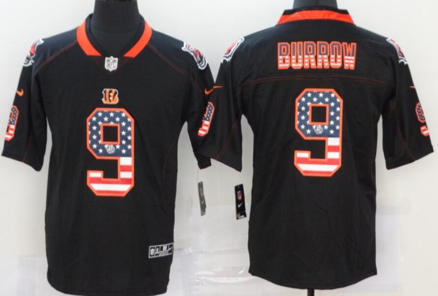 Men's Cincinnati Bengals #9 Joe Burrow 2020 USA Flag Fashion Black Color Rush Stitched Nike Limited Jersey