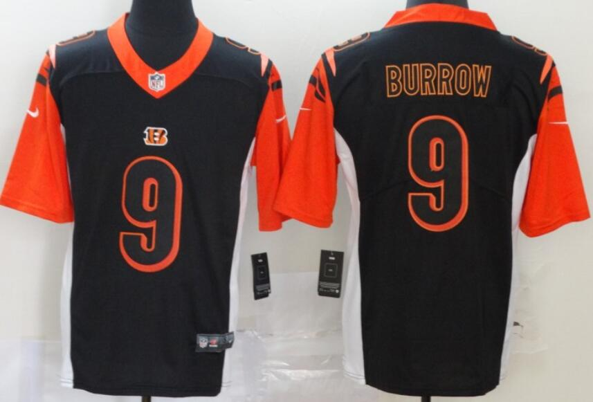 Men's Cincinnati Bengals #9 Joe Burrow Black Inverted Legend Stitched NFL Nike Limited Jersey