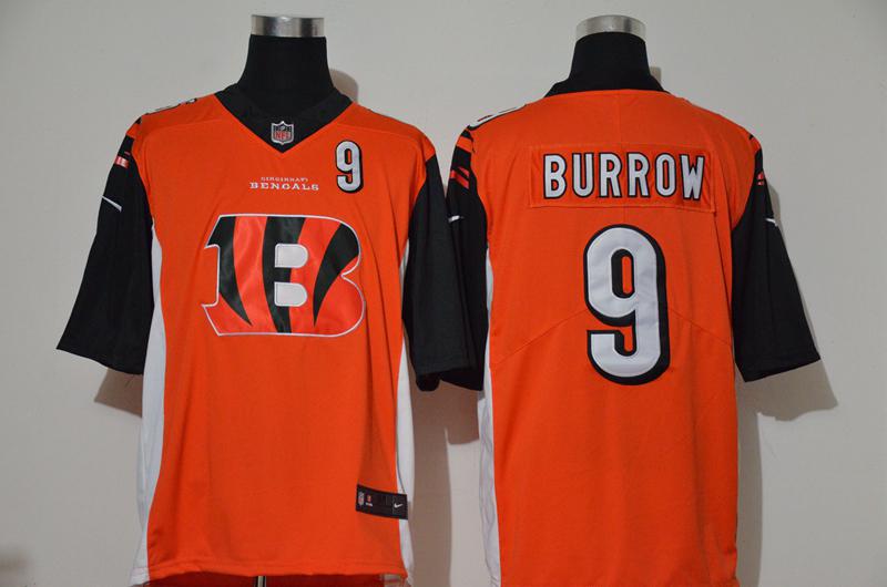 Men's Cincinnati Bengals #9 Joe Burrow Orange 2020 Team Logo Number Vapor Untouchable Stitched NFL Nike Fashion Limited Jersey