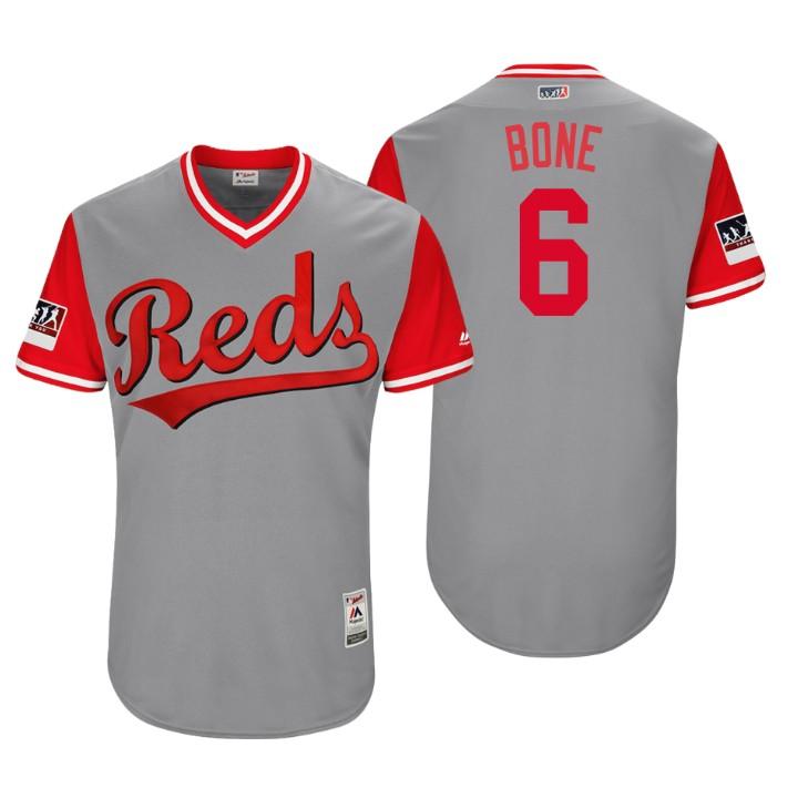 Men's Cincinnati Reds Authentic Billy Hamilton #6 Gray 2018 LLWS Players Weekend Bone Jersey