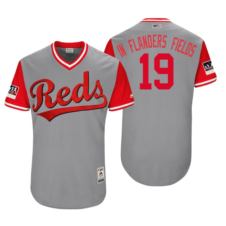 Men's Cincinnati Reds Authentic Joey Votto #19 Gray 2018 LLWS Players Weekend In Flanders Fields Jersey
