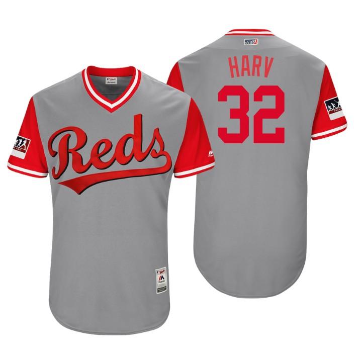 Men's Cincinnati Reds Authentic Matt Harvey #32 Gray 2018 LLWS Players Weekend Harv Jersey