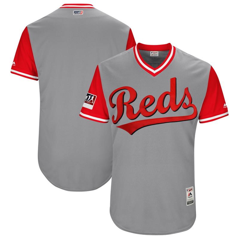 Men's Cincinnati Reds Majestic Gray-Red 2018 Players' Weekend Authentic Team Jersey