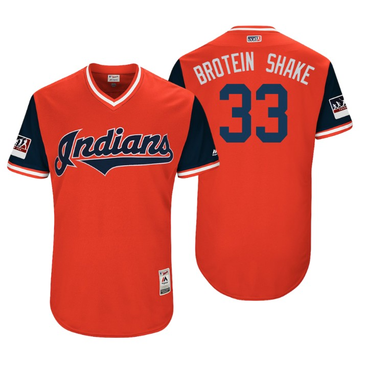 Men's Cleveland Indians Authentic Brad Hand #33 Red 2018 LLWS Players Weekend Brotein Shake Jersey