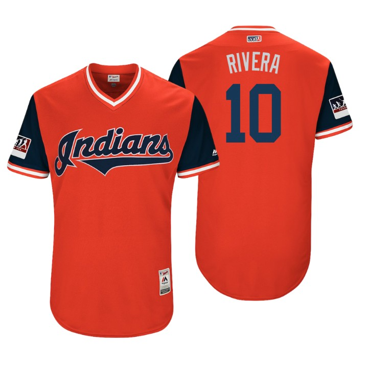 Men's Cleveland Indians Authentic Edwin Encarnacion #10 Red 2018 LLWS Players Weekend Rivera Jersey