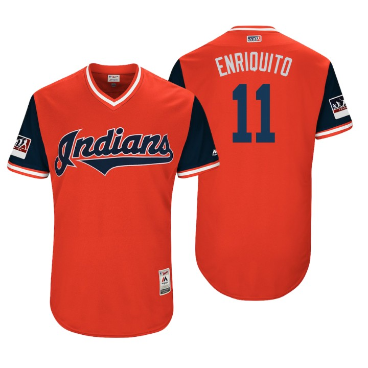 Men's Cleveland Indians Authentic Jose Ramirez #11 Red 2018 LLWS Players Weekend Enriquito Jersey