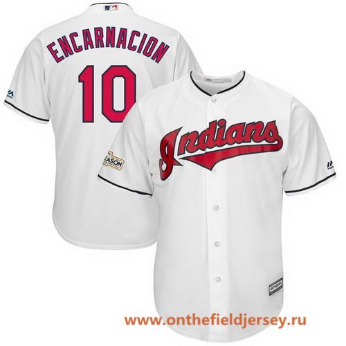 Men's Cleveland Indians Edwin Encarnacion Majestic White Stitched 2017 MLB Postseason Patch Cool Base Player Jersey