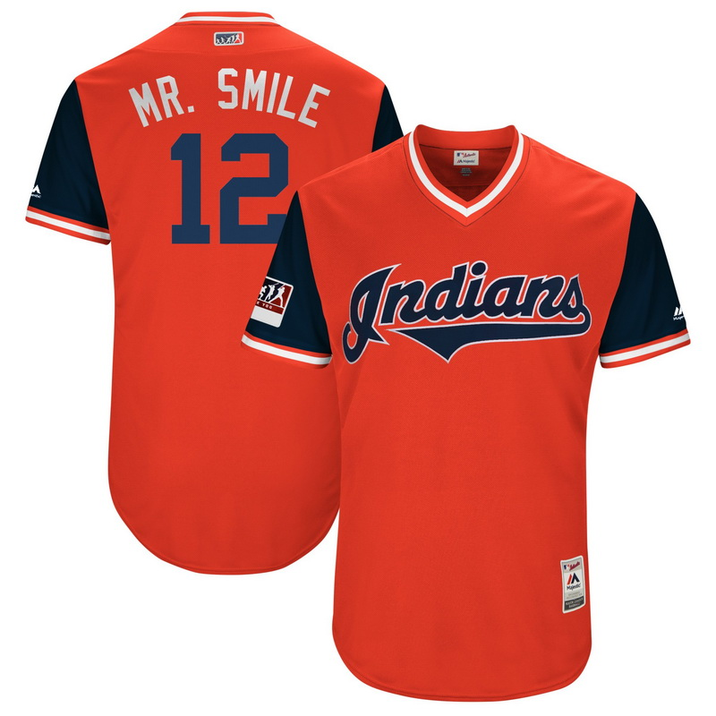 Men's Cleveland Indians Francisco Lindor Mr. Smile Majestic Red-Navy 2018 Players' Weekend Authentic Jersey