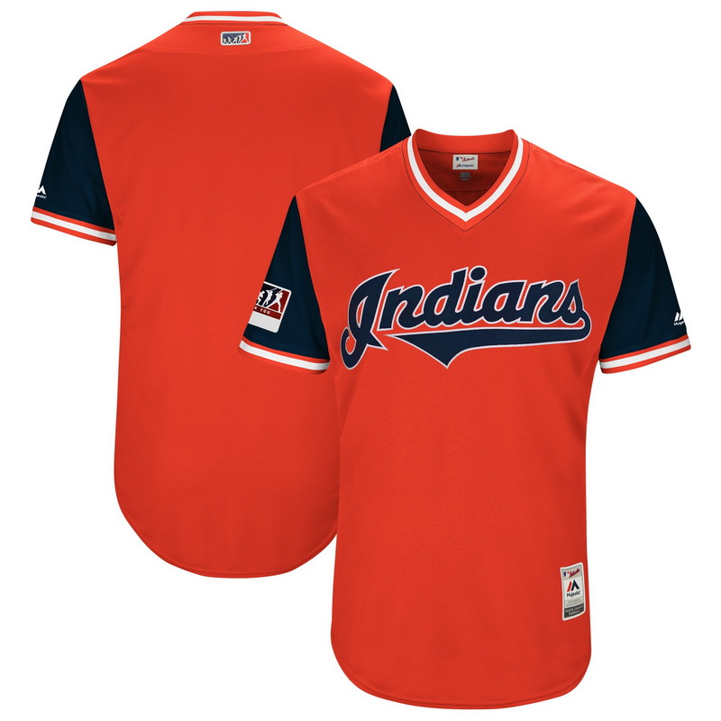 Men's Cleveland Indians Majestic Red-Navy 2018 Players' Weekend Authentic Team Jersey