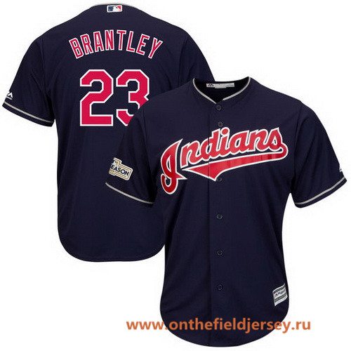 Men's Cleveland Indians Michael Brantley Majestic Navy Stitched 2017 MLB Postseason Patch Cool Base Player Jersey