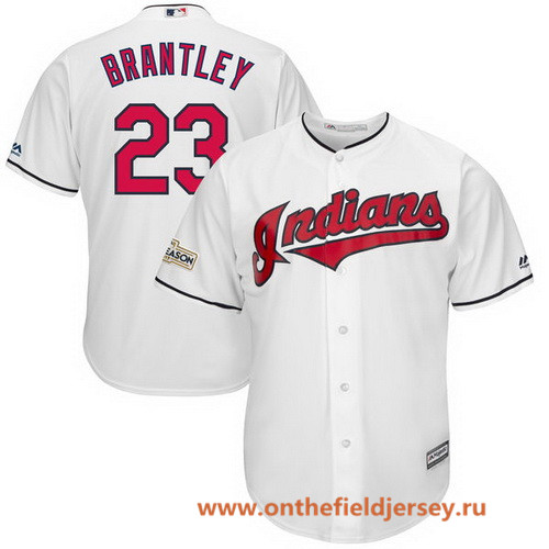 Men's Cleveland Indians Michael Brantley Majestic White Stitched 2017 MLB Postseason Patch Cool Base Player Jersey