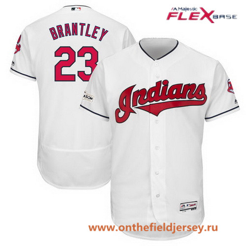 Men's Cleveland Indians Michael Brantley Majestic White Stitched 2017 MLB Postseason Patch Flex Base Player Jersey