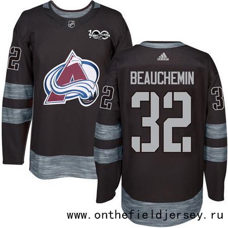 Men's Colorado Avalanche #32 Francois Beauchemin Black 100th Anniversary Stitched NHL 2017 adidas Hockey Jersey