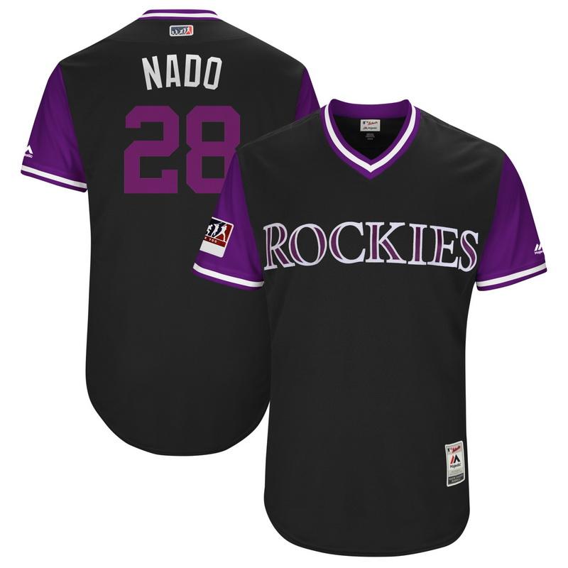 Men's Colorado Rockies Nolan Arenado Nado Majestic Black-Purple 2018 Players' Weekend Authentic Jersey