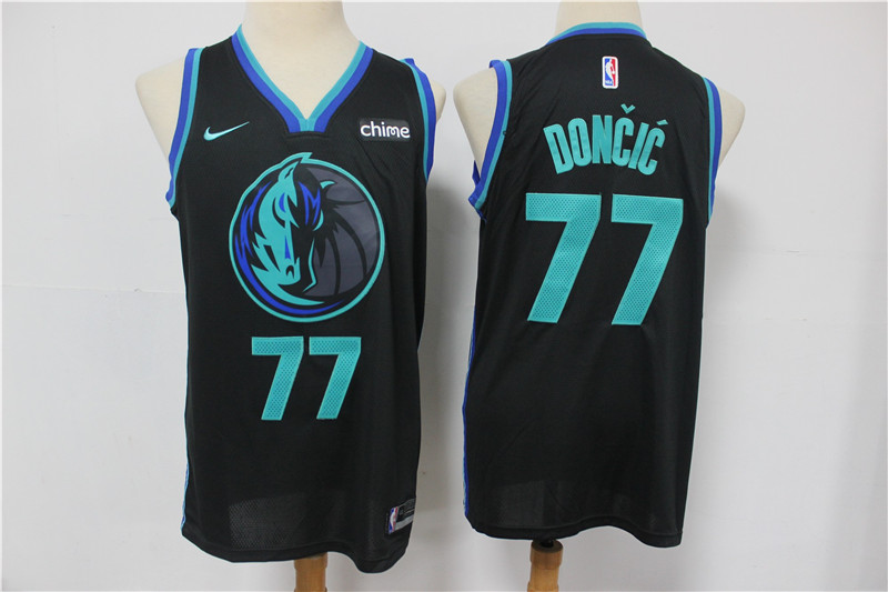 Men's Dallas Mavericks #77 Luka Doncic Black 2019 City Edition NBA Swingman Stitched NBA Jersey With NEW Sponsor Logo