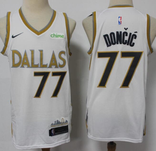 Men's Dallas Mavericks #77 Luka Doncic White 2021 Nike City Edition Swingman Jersey With NEW Sponsor Logo