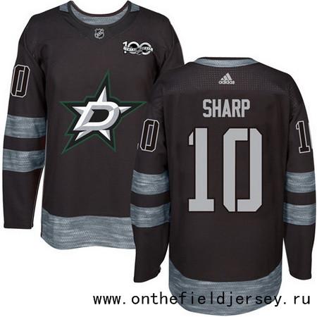 Men's Dallas Stars #10 Patrick Sharp Black 100th Anniversary Stitched NHL 2017 adidas Hockey Jersey