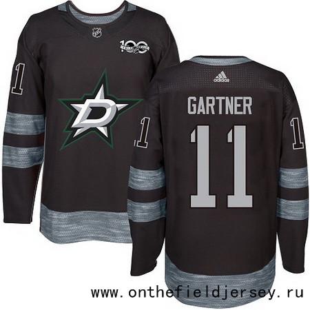 Men's Dallas Stars #11 Mike Gartner Black 100th Anniversary Stitched NHL 2017 adidas Hockey Jersey