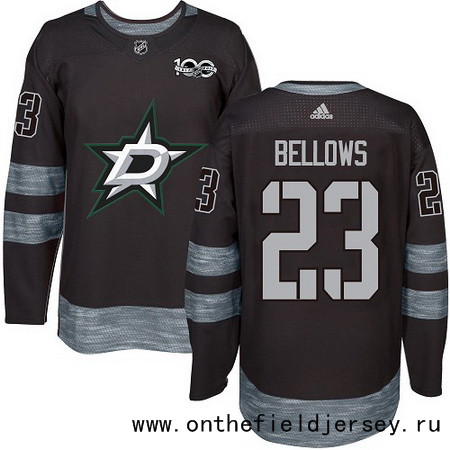 Men's Dallas Stars #23 Brian Bellows Black 100th Anniversary Stitched NHL 2017 adidas Hockey Jersey