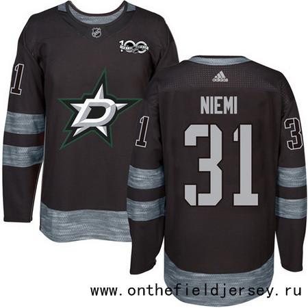 Men's Dallas Stars #31 Antti Niemi Black 100th Anniversary Stitched NHL 2017 adidas Hockey Jersey