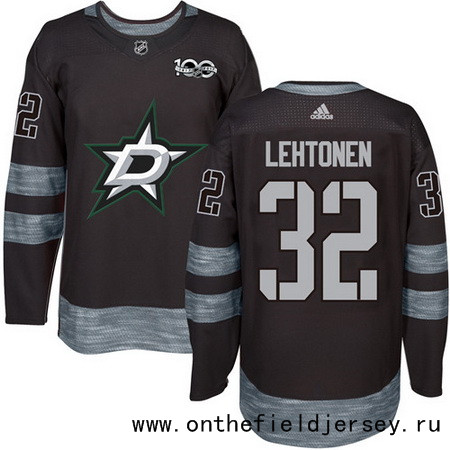 Men's Dallas Stars #32 Kari Lehtonen Black 100th Anniversary Stitched NHL 2017 adidas Hockey Jersey