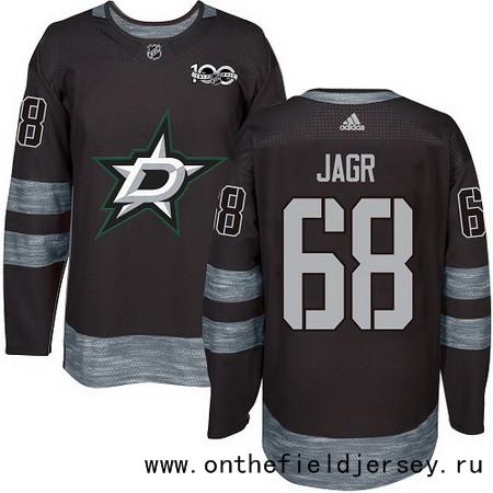 Men's Dallas Stars #68 Jaromir Jagr Black 100th Anniversary Stitched NHL 2017 adidas Hockey Jersey