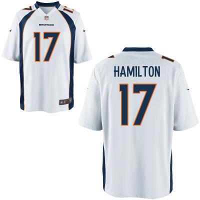 Men's Denver Broncos #17 DaeSean Hamilton White Road Stitched NFL Nike Game Jersey