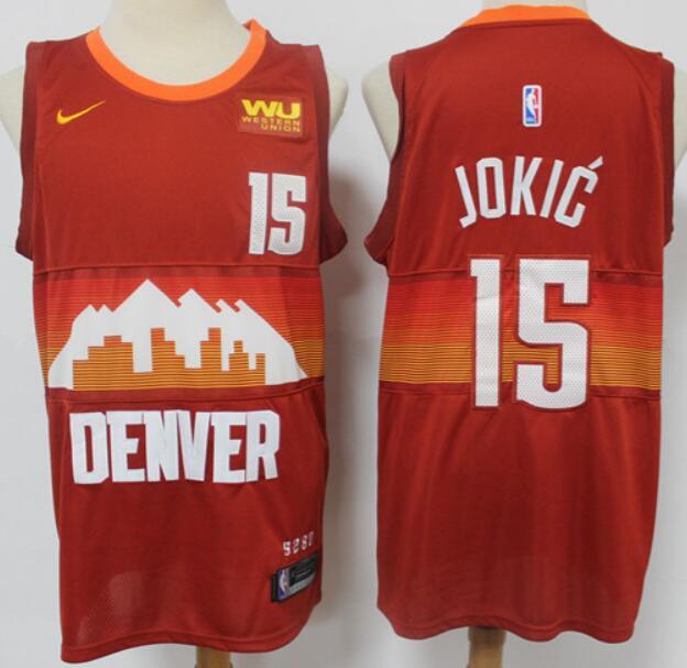 Men's Denver Nuggets #15 Nikola Jokic Red 2021 City Edition NBA Swingman Jersey With The Sponsor Logo